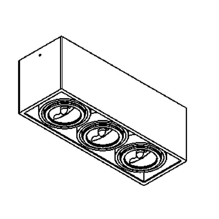 Drawing of 1877/.. - SPINNER X AR70, opbouw plafondverlichting - richtbaar - down - met transfo