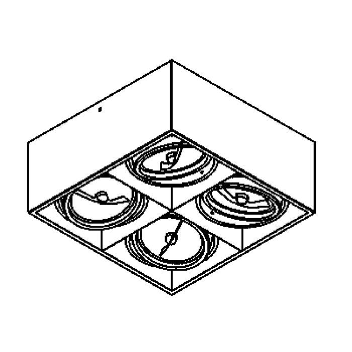 Drawing of 1868/.. - SPINNER X, opbouw plafondverlichting - richtbaar - down - met transfo