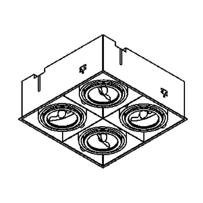 Drawing of 1879/.. - SPINNER X AR70, inbouw plafondverlichting - vierkant - richtbaar - zonder transfo