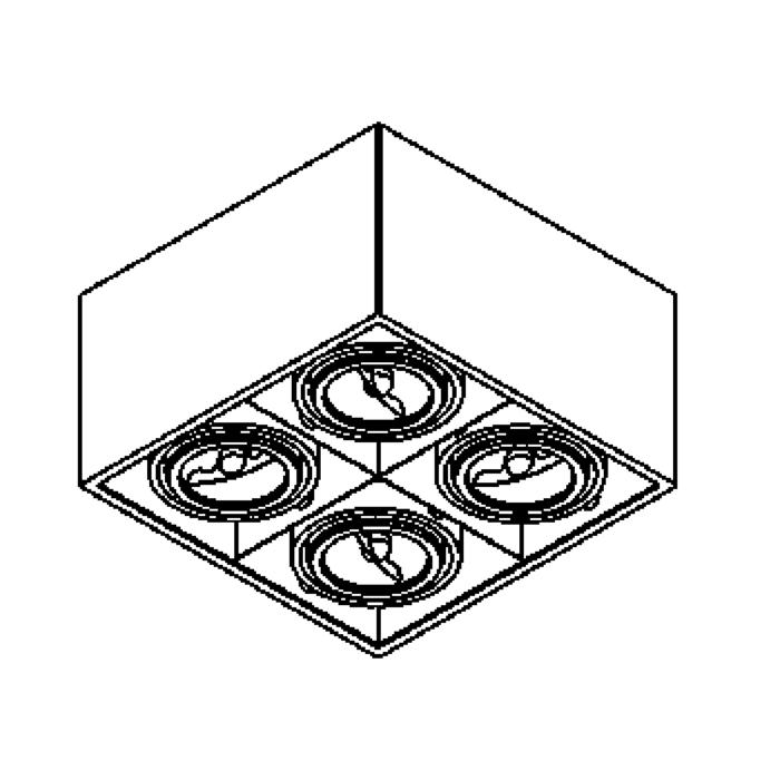 Drawing of 1880/.. - SPINNER X AR70, built-up ceiling light - directional - down - with transformer