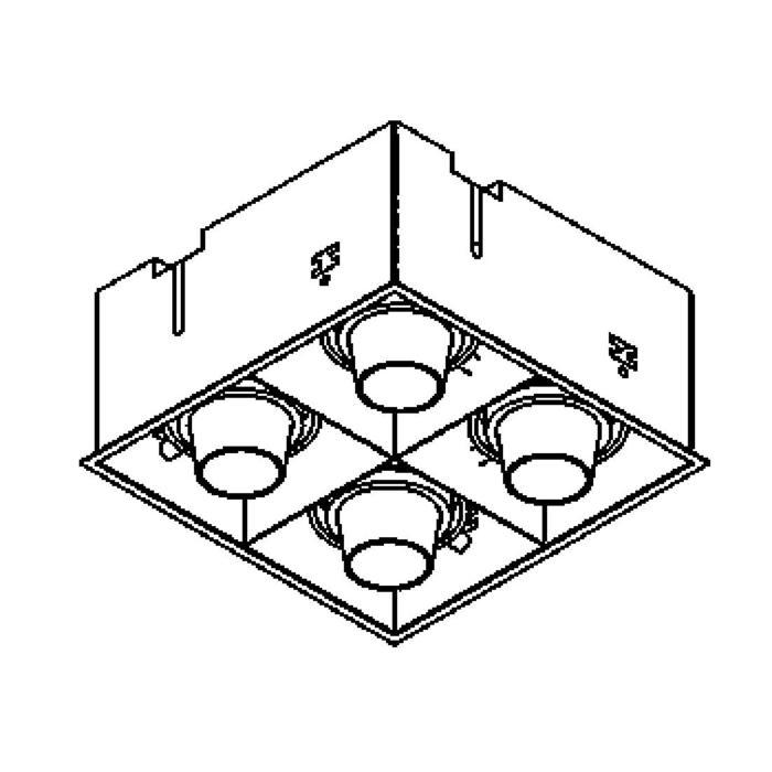 Drawing of 1889.ES50/.. - SPINNER X FORUM, inbouw plafondverlichting - vierkant - richtbaar