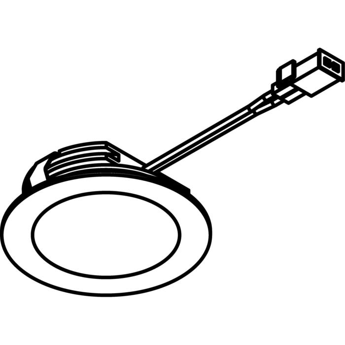 Drawing of 3180.S2/.. - KASTAR, inbouw plafond- en wandlicht - rond - met kabel 0,75m + AMP-stekker - zonder transfo
