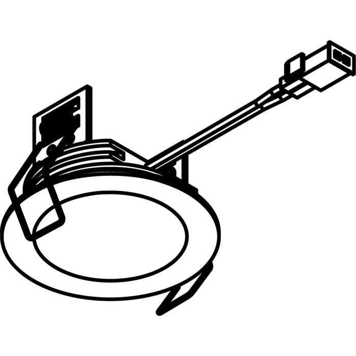 Drawing of W3180.S1/.. - KASTAR, inbouw plafond- en wandlicht - rond - met kabel 0,75m + AMP-stekker - zonder transfo