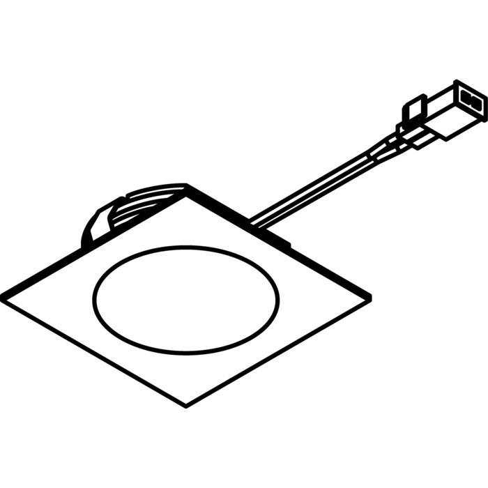 Drawing of W3181.S2/.. - KASTAR, inbouw plafond- en wandlicht - vierkant - met kabel 0,75m + AMP-stekker - zonder transfo
