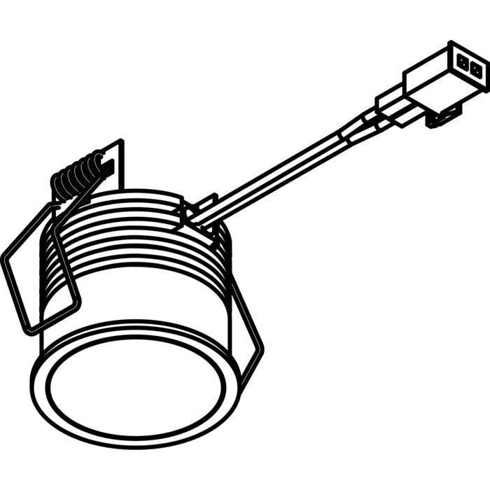 Drawing of W3190/.. - OBELIX, inbouwspot voor verandaprofielen - rond - down - met kabel 0,75m + AMP-stekker - zonder transfo